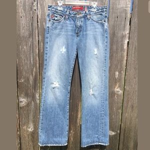 Big Star 27R Low Rise Bootcut Distressed Jeans
